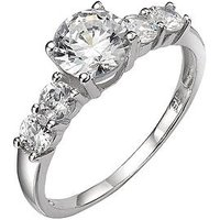 Love GEM 9 Carat White Gold Cubic Zirconia Ring with Stone-Set Shoulders, Size O, Women