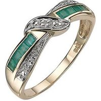 Love GEM 9 Carat Yellow Gold Diamond-Set Emerald Eternity Ring, Size O, Women