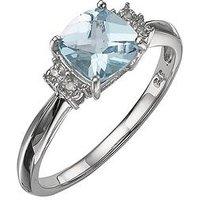 Love GEM 9 Carat White Gold Diamond-Set Blue Topaz Ring, Size M, Women
