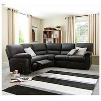 Product photograph showing Leighton Leather Faux Leather Reclining Corner Group Sofa