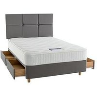 Product photograph showing Silentnight Mirapocket Sophia 1000 Memory Divan Bed With Storage Options Includes Headboard