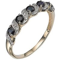 Love GEM 9 Carat Yellow Gold Sapphire and Diamond Eternity Ring, Size K, Women