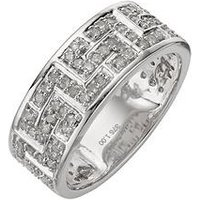Love DIAMOND 9 Carat White Gold 1 Carat Diamond Greek Key Band Mens Ring, Size S, Men