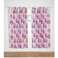 Catherine Lansfield Lined Owl Curtains, Multi