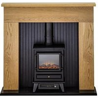 Adam Fire Surrounds Innsbruck Oak Electric Fireplace Suite With Stove