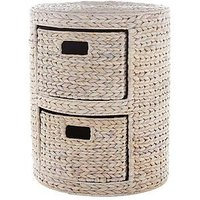 Round Arrow Weave 2-Drawer Storage Unit - White