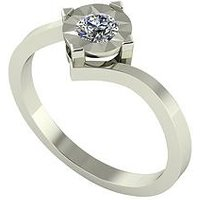 Moissanite 9 Carat White Gold 25 Point Solitaire Ring, Size R, Women
