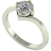 Moissanite 9 Carat White Gold 25 Point Solitaire Ring, Size K, Women