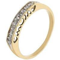 Love GOLD 9 Carat Yellow Gold Diamond Set Mum Heart Ring, Size L, Women