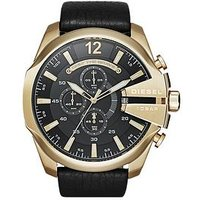 Diesel Mega Chief Black Dial And Gold Tone Stainless Steel Black Leather Strap Mens Watch, Men