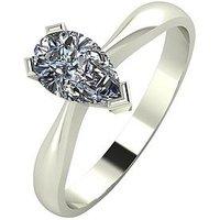 Moissanite 9 Carat White Gold, 1 Carat Pear Shaped Solitaire Ring, Size K, Women