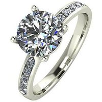 Moissanite 9 Carat White Gold, 2.3-Carat Solitaire Ring with Moissanite Set Shoulders, Size K, Women