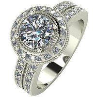 Moissanite 9 Carat White Gold, 1.5 Carat Solitaire Ring with Moissanite Set Halo and Shoulders, Size W, Women