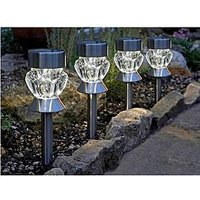 Smart Solar Crystal Glass Stainless Steel Stake Lights With Leds (4 Pack)