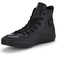 Converse Chuck Taylor All Star Leather Hi-Tops, Black/Black, Size 12, Women
