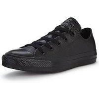 Converse Chuck Taylor All Star Leather Ox Plimsolls, Black/Black, Size 4, Women
