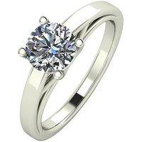 Moissanite Premium Collection 9 Carat White Gold, 1 Carat Round Brilliant Cut Solitaire Ring, Size K, Women