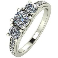 Moissanite 9ct White Gold 1.10ct Trilogy Ring with Moissanite Set Shoulders, Size U, Women