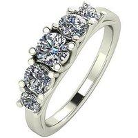 Moissanite Premium Collection 9 Carat White Gold, 1 Carat Brilliant Cut Five Stone Eternity Ring, Size N, Women