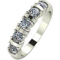 Moissanite 9 Carat White Gold, 1 Carat Moissanite Bar Set 5 Stone Eternity Ring, Size Z, Women