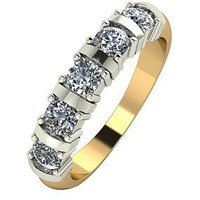 Moissanite 9 Carat Yellow Gold 1 Carat Moissanite 5 Stone Eternity Ring, Size R, Women