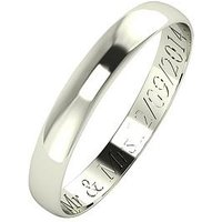 Love GOLD Personalised 9 Carat White Gold D-Shaped Wedding Band 3mm, Size T, Women