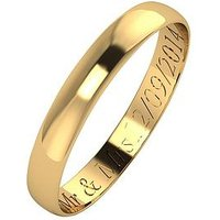 Love GOLD Personalised 9 Carat Yellow Gold D-Shaped Wedding Band 3mm, Size L, Women