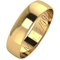 Love GOLD Personalised 9 Carat Yellow Gold D-Shaped Wedding Band 5mm, Size O, Women