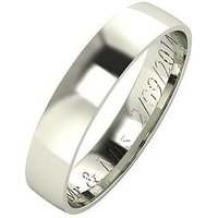 Love GOLD Personalised 9 Carat White Gold Court Wedding Band 4mm, Size P, Women