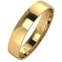 Love GOLD Personalised 9 Carat Yellow Gold Court Wedding Band 4mm, Size O, Women