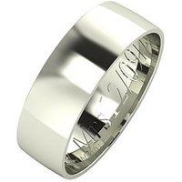 Love GOLD Personalised 9 Carat White Gold Court Wedding Band 6 mm, Size I, Women