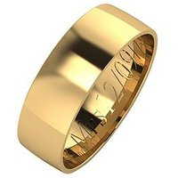 Love GOLD Personalised 9 Carat Yellow Gold Court Wedding Band 6 mm, Size I, Women