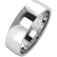 The Love Silver Collection Personalised Argentium Silver Wedding Band 6mm, Size H, Women