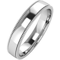 The Love Silver Collection Silver Mill Grain Edge 4 mm Court Wedding Band, Size P, Women