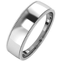 The Love Silver Collection Silver Mill Grain Edge 6 mm Court Wedding Band, Size P, Women
