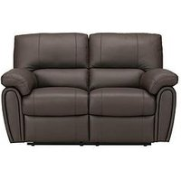 Product photograph showing Leighton Leather Faux Leather 2 Seater Power Recliner Sofa