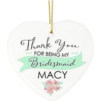Personalised Thank You Hanging Heart - Bridesmaid