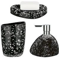 Spirella Etna Set Of 3 Glitter Black Bathroom Accessories