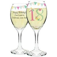 Personalised Birthday Age Wine Glass, 18, Women