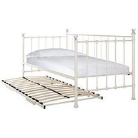 Neston Metal Day Bed + Foldaway Trundle Bed  - Bed With Fold-Away Trundle And 2 Microquilt Mattresses