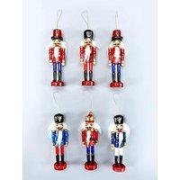 Set Of 6 Wood Nutcracker Hanging Ornaments