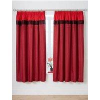 Velvet Panel Red Pleated Curtains