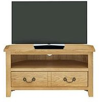 London Oak Ready Assembled Corner Tv Unit - Fits Up To 38 Inch Tv