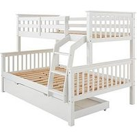 Novara Detachable Trio Bunk Bed in Pine, Grey or White  - Bed Frame With Standard And Standard 4ft Mattresses, White