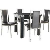 Gloss 80-160 Cm Square To Rectangle Table Plus 4 Atlantic Chairs