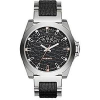 Diesel Arges Black Dial with Stainless Steel and Leather Bracelet Mens Watch, One Colour, Men