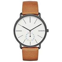 Skagen Hagen Grey Stainless Steel Case Brown Leather Strap Mens Watch, One Colour, Men