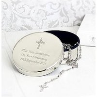 Rosary Beads and Personalised Cross in Round Silver Finish Trinket Box, One Colour, Women