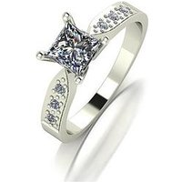 Moissanite 9ct Gold 1 Carat Square Brilliant Moissanite Solitaire Ring with Moissanite Set Shoulders, Yellow Gold, Size R, Women