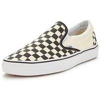 Vans Classic Checkerboard Slip-On Plimsolls, Black/White, Size 7, Women